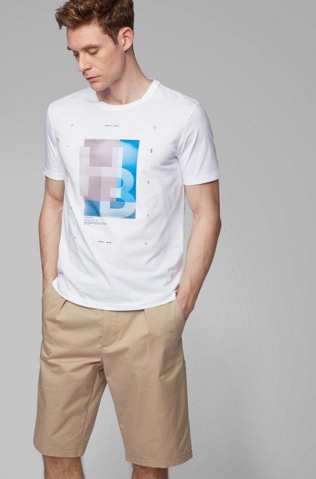 T-shirt à logo imprimé en coton Pima avec code Morse, Blanc