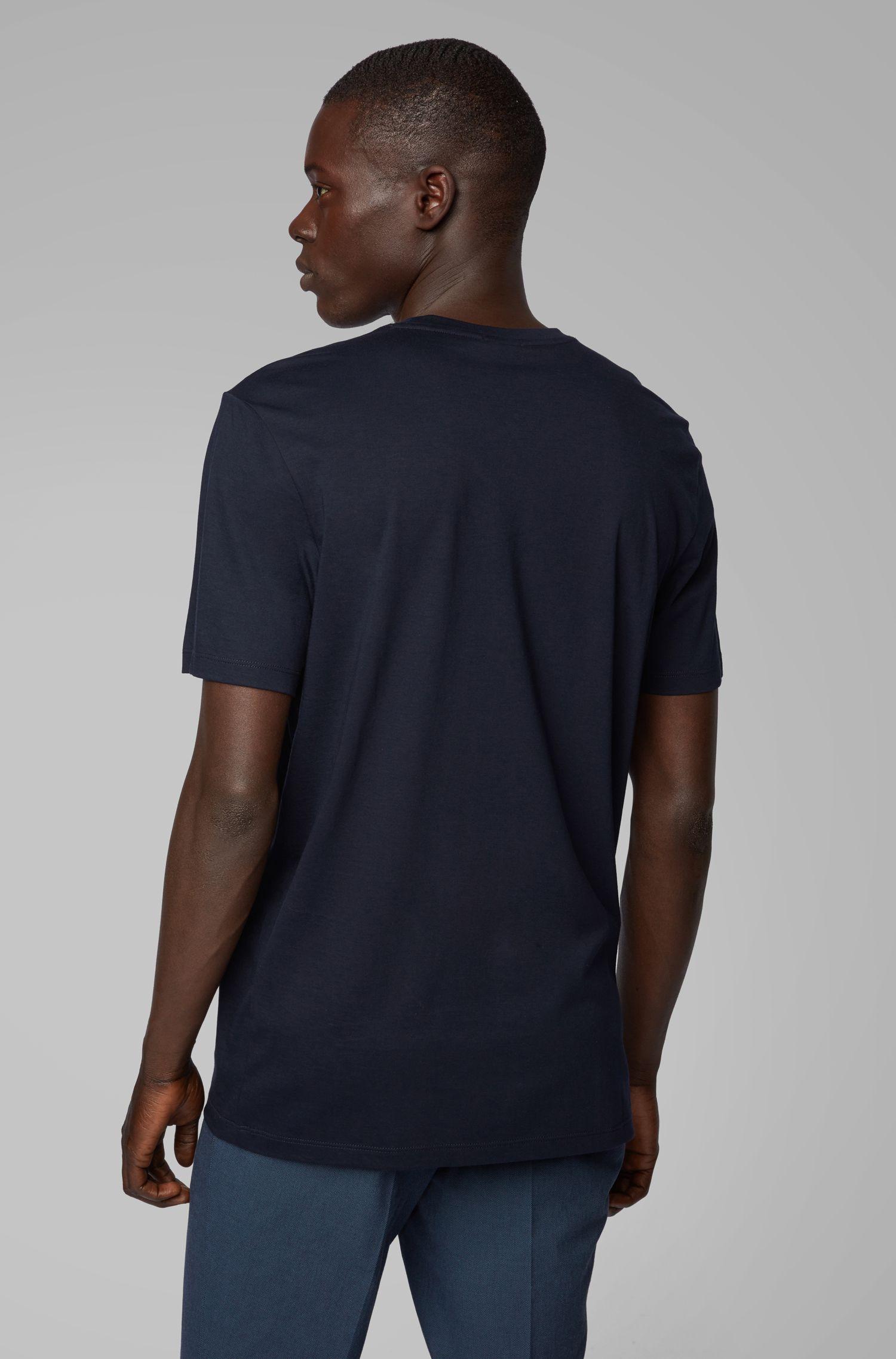 T-shirt van pimakatoen met logoprint en morsecodes, Donkerblauw