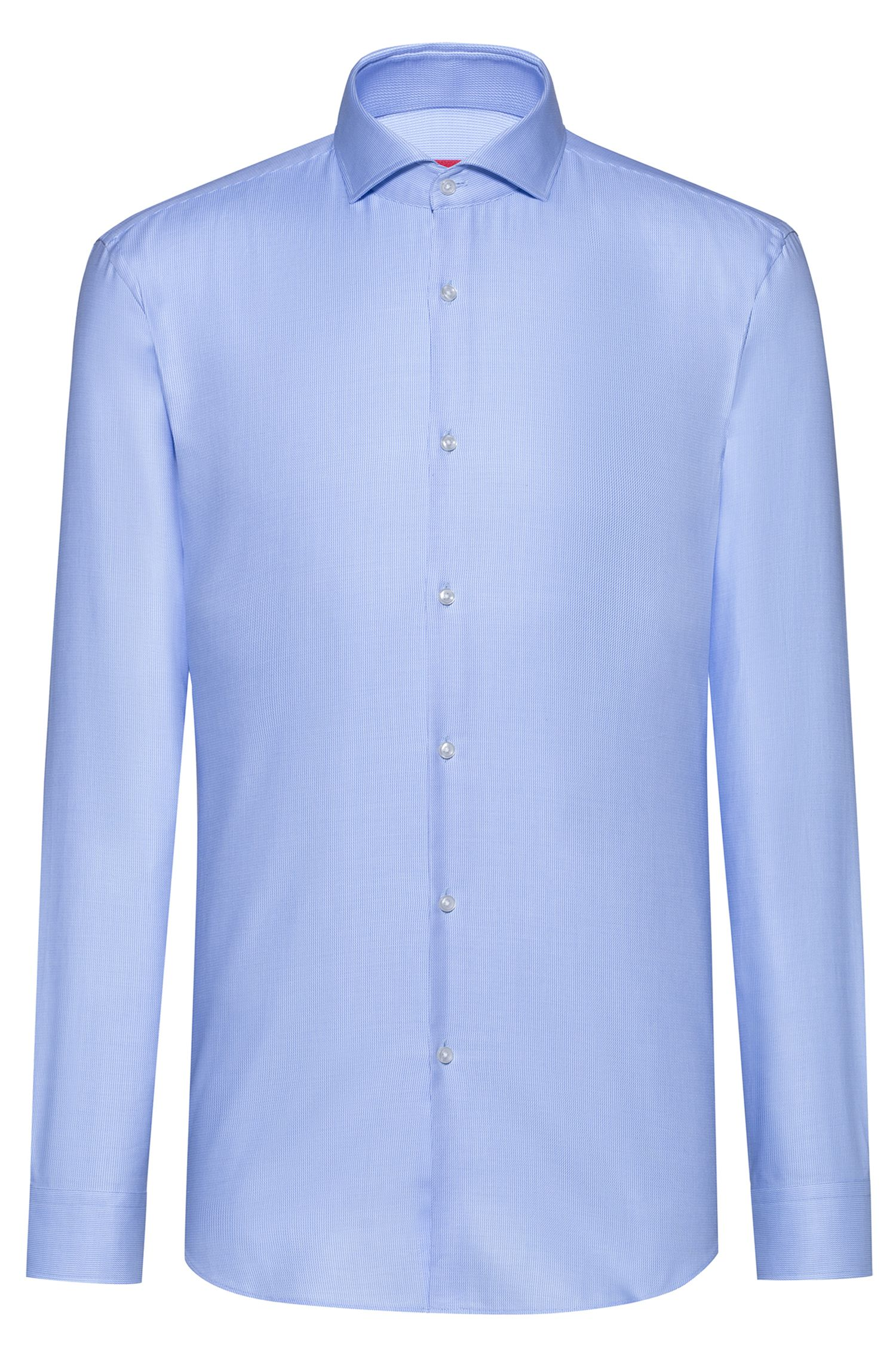 Slim-fit shirt in structured cotton with spread collar, Light Blue