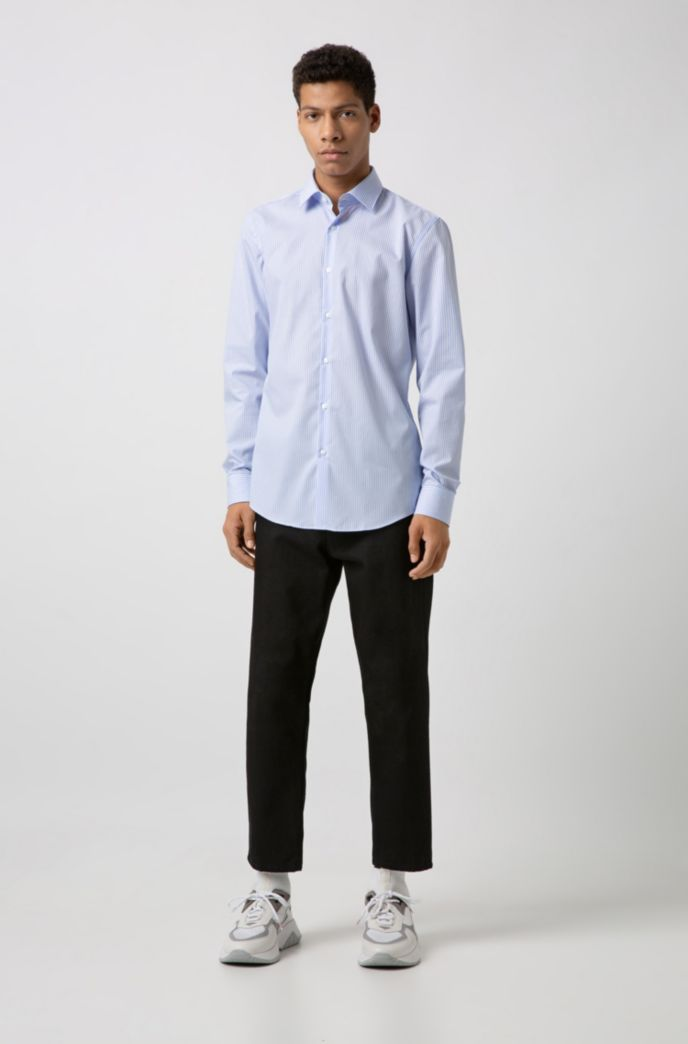 Slim-fit shirt in striped easy-iron cotton