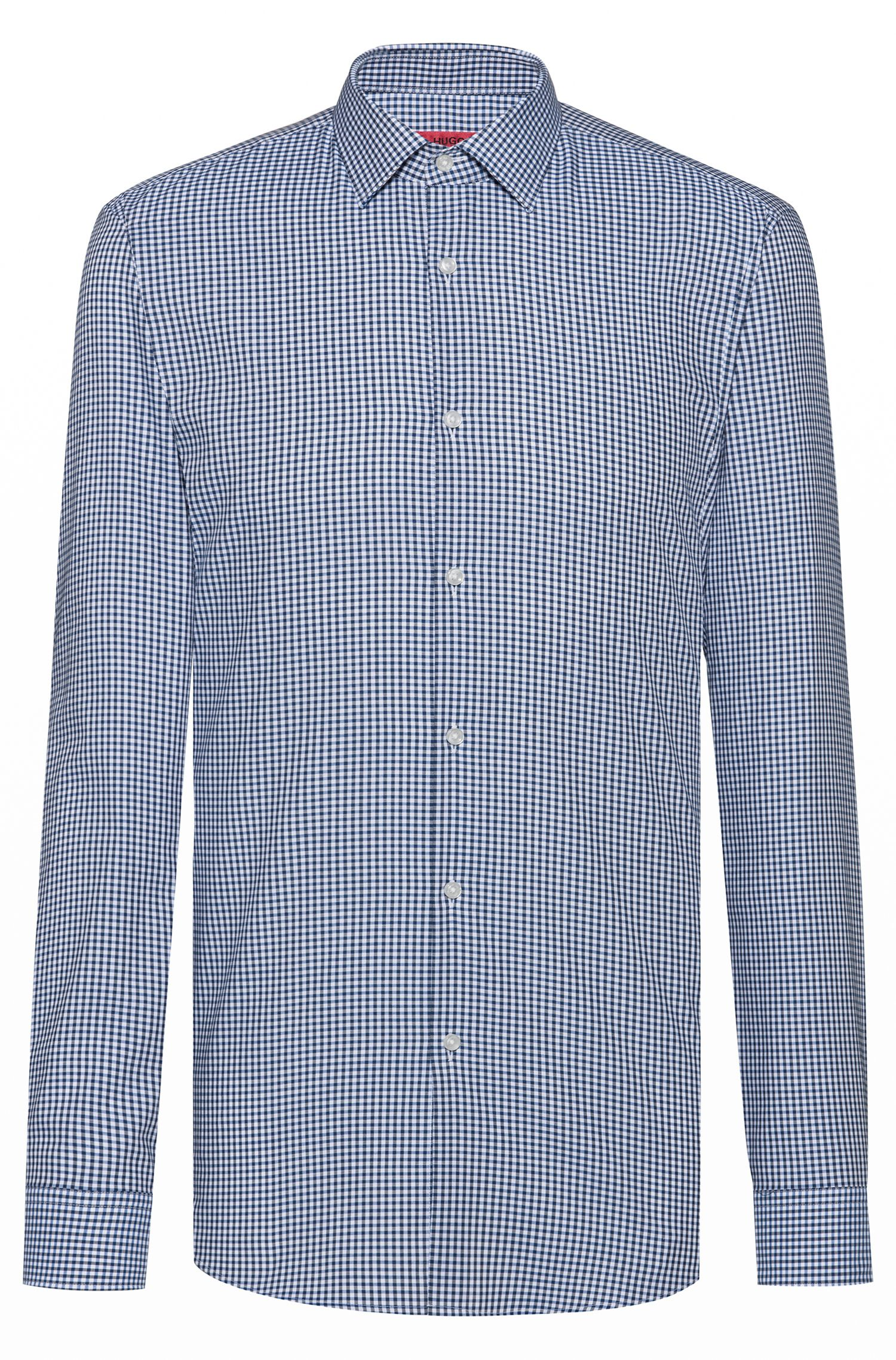 Camicia slim fit a quadri in cotone facile da stirare, A disegni