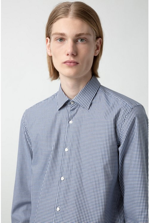 Hugo Boss - Slim-fit shirt in checked easy-iron cotton - 3
