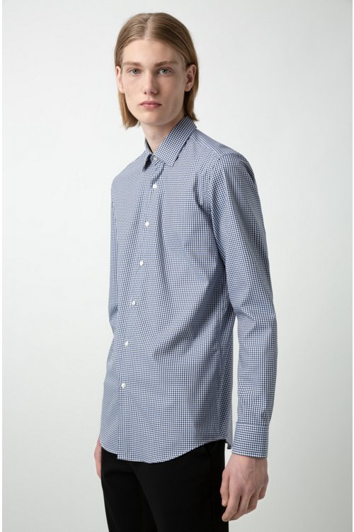 Hugo Boss - Slim-fit shirt in checked easy-iron cotton - 4