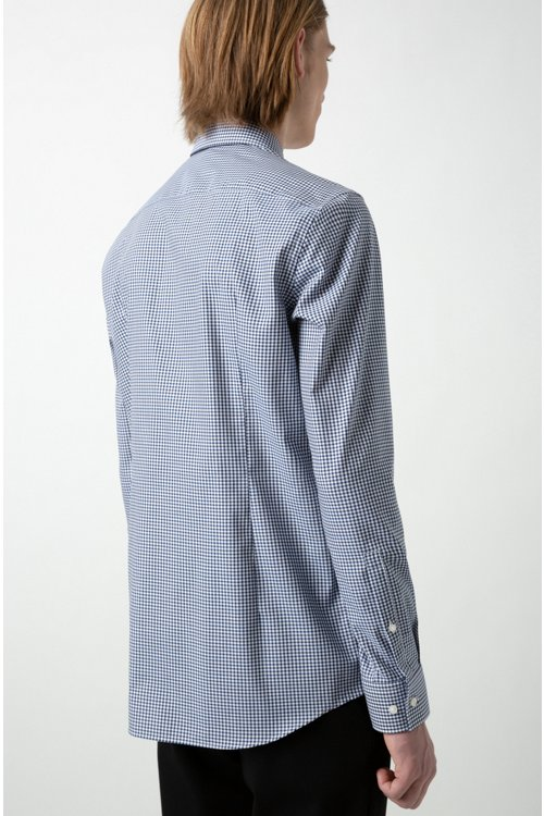 Hugo Boss - Slim-fit shirt in checked easy-iron cotton - 5