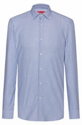 Slim-fit overhemd van geruite, gemakkelijk te strijken katoen, Bedrukt