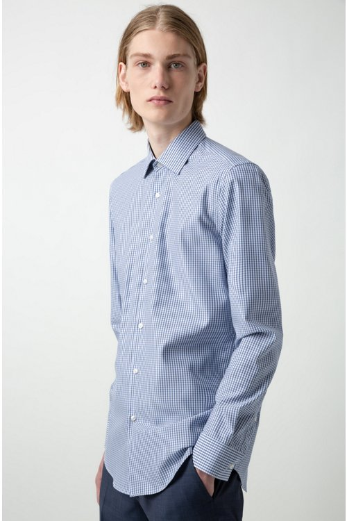 Hugo Boss - Slim-fit shirt in checked easy-iron cotton - 2
