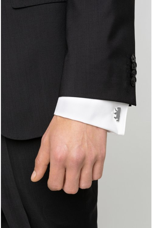 Hugo Boss - Bear-shaped cufflinks in highly polished metal - 2