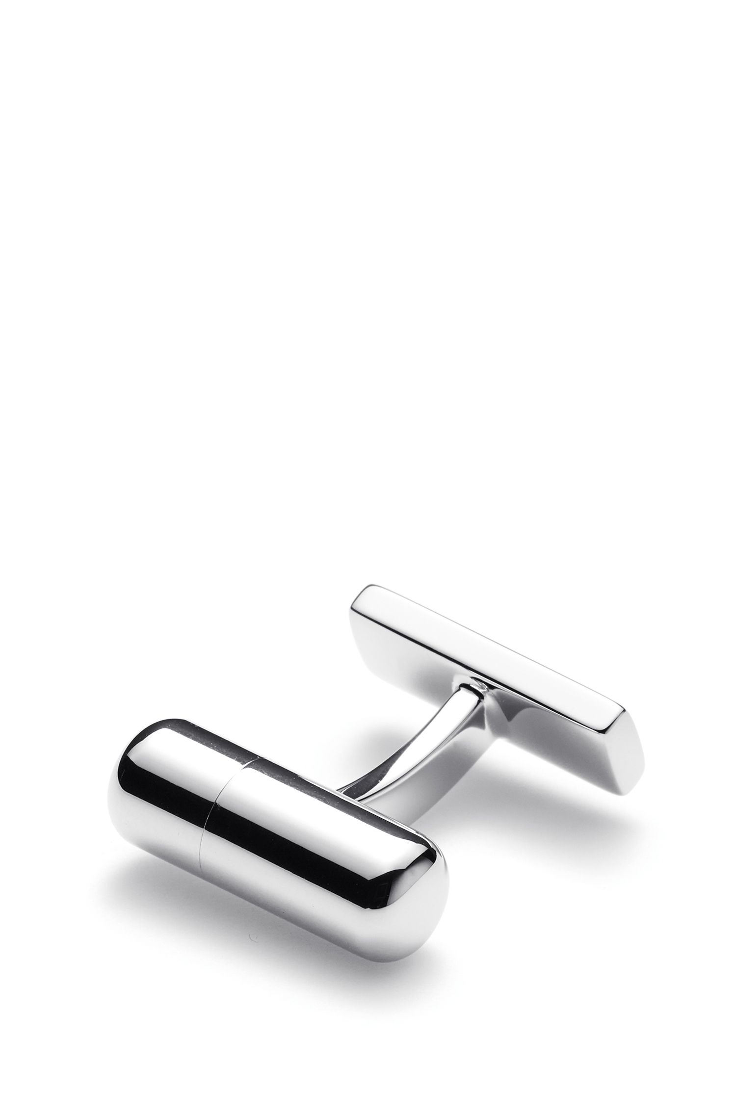 Capsule cufflinks with inner enamel message, Silver