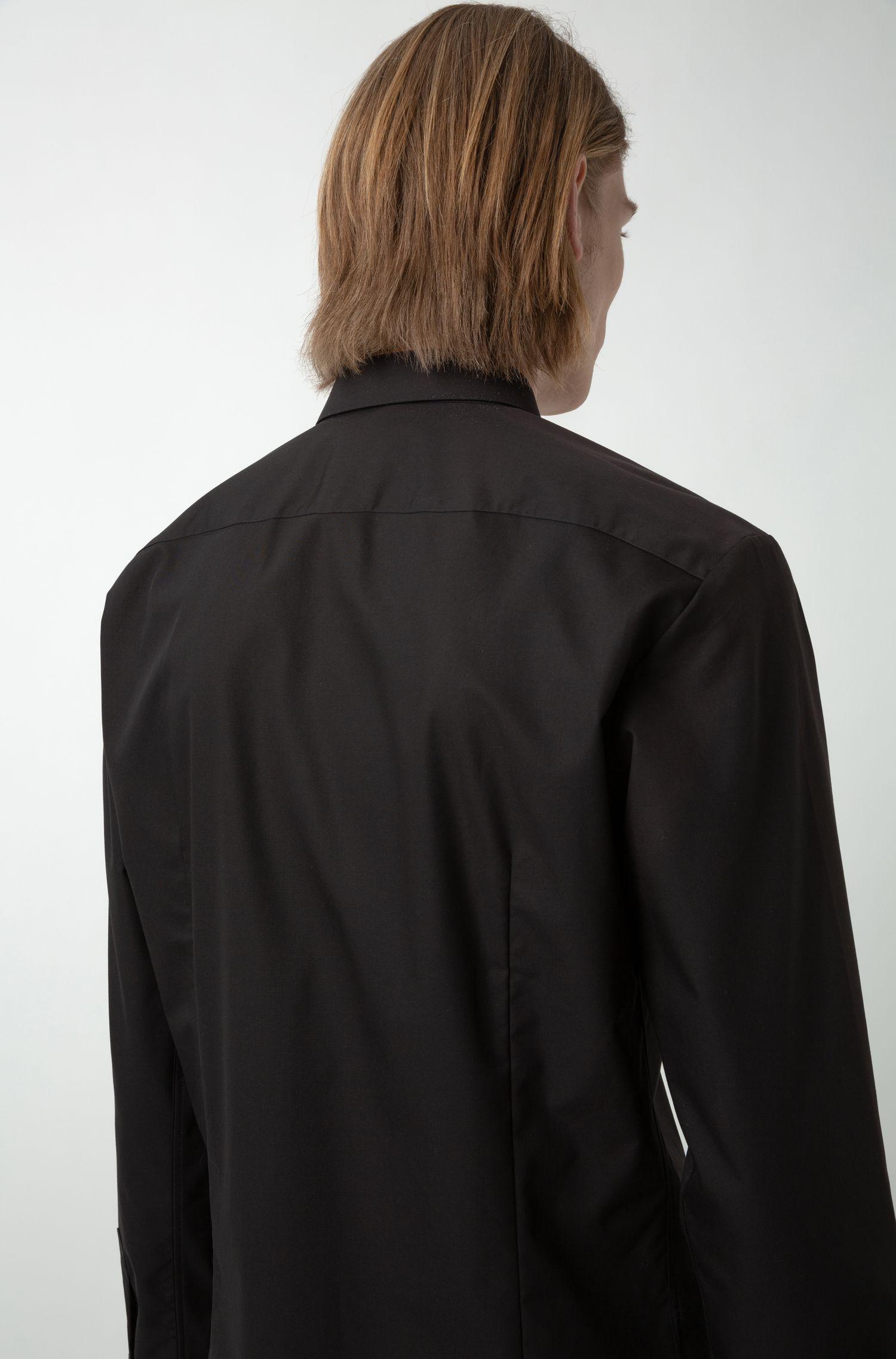 Extra Slim-Fit Hemd mit Reversed-Logo-Tape, Schwarz