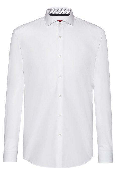Slim-fit shirt in cotton with logo-print inner contrasts, White