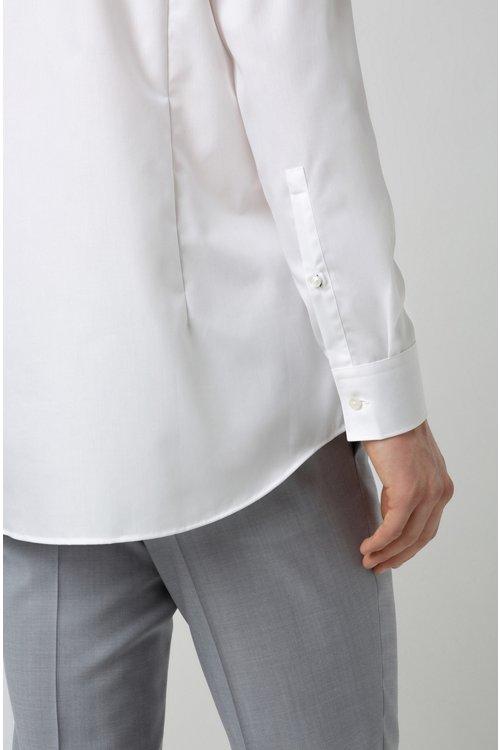 Hugo Boss - Camisa slim fit de algodón con logos estampados en contraste en el interior - 6