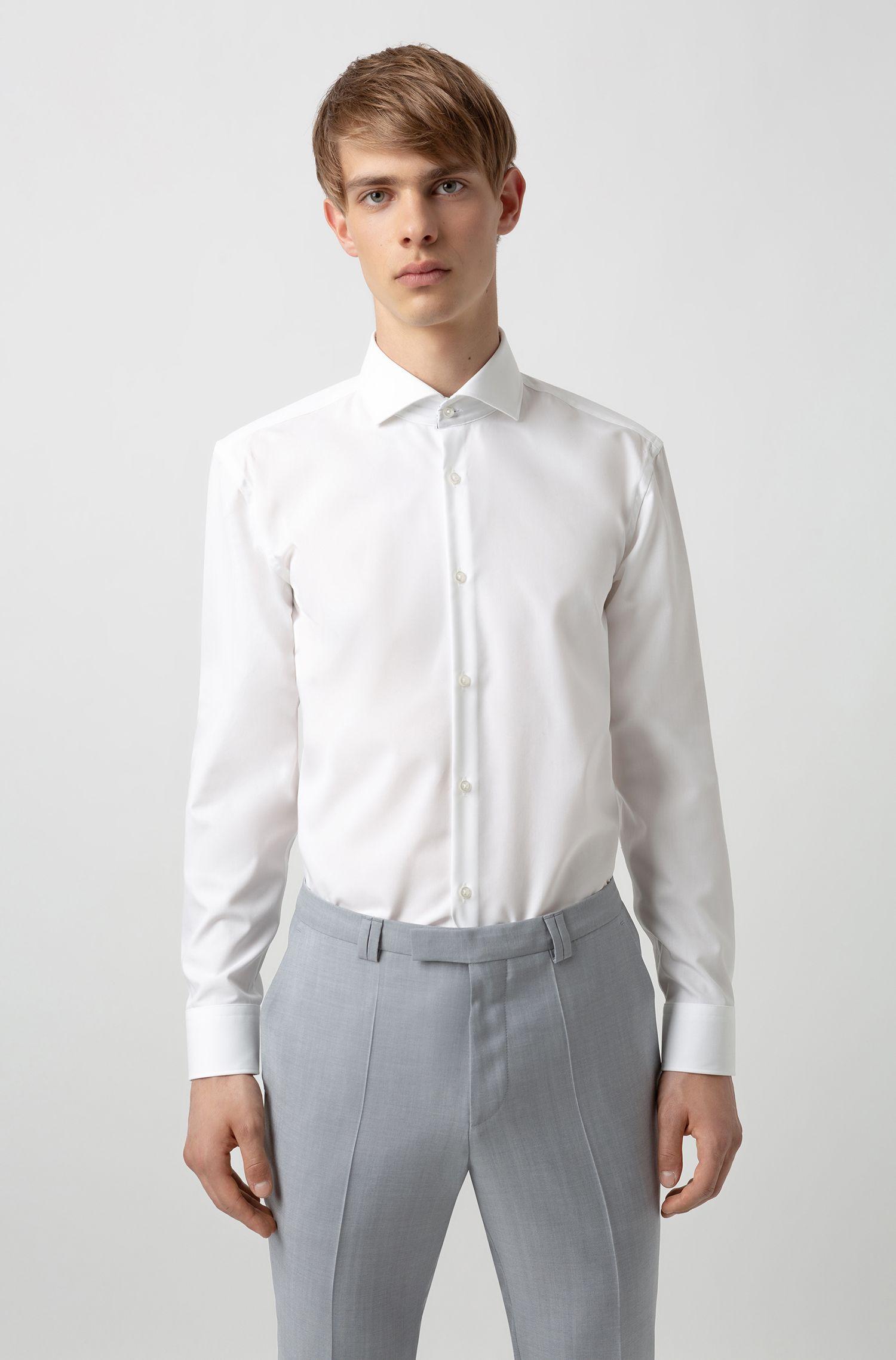 Slim-Fit Hemd aus Baumwolle mit Logo-Print auf der Innenseite, Weiß