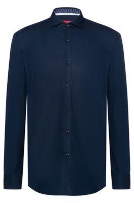 Slim-fit overhemd van katoen met contrasten met logoprint aan de binnenzijde, Donkerblauw