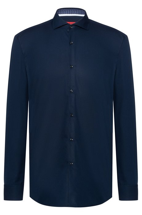Slim-fit shirt in cotton with logo-print inner contrasts, Dark Blue