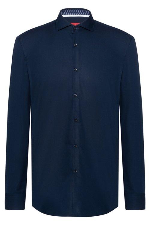 Hugo Boss - Camisa slim fit de algodón con logos estampados en contraste en el interior - 1