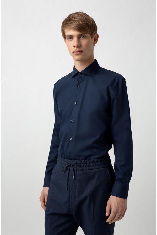 Hugo Boss - Camisa slim fit de algodón con logos estampados en contraste en el interior - 4