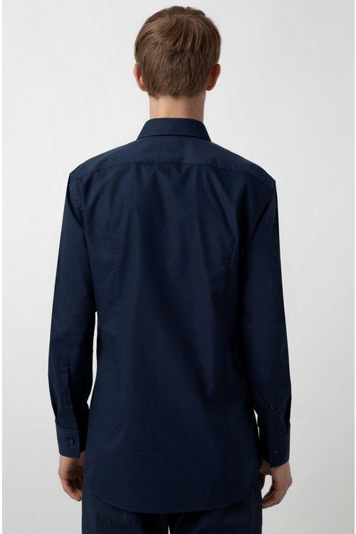Hugo Boss - Camisa slim fit de algodón con logos estampados en contraste en el interior - 5