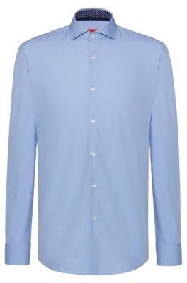 Slim-fit overhemd van katoen met contrasten met logoprint aan de binnenzijde, Lichtblauw
