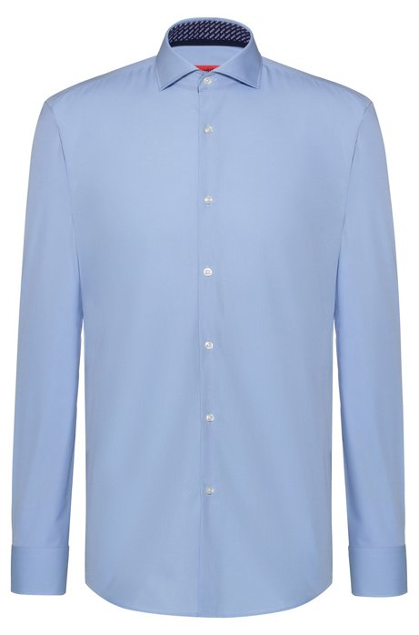 Slim-fit shirt in cotton with logo-print inner contrasts, Light Blue