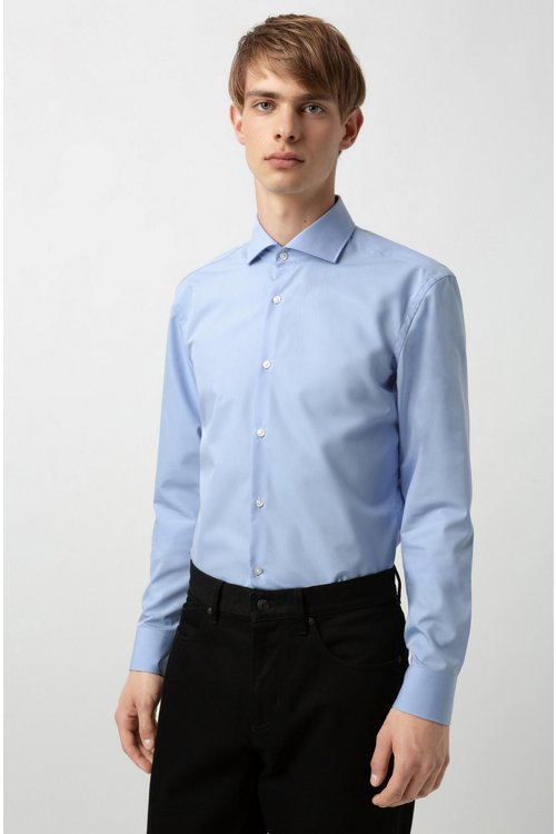Hugo Boss - Camisa slim fit de algodón con logos estampados en contraste en el interior - 3