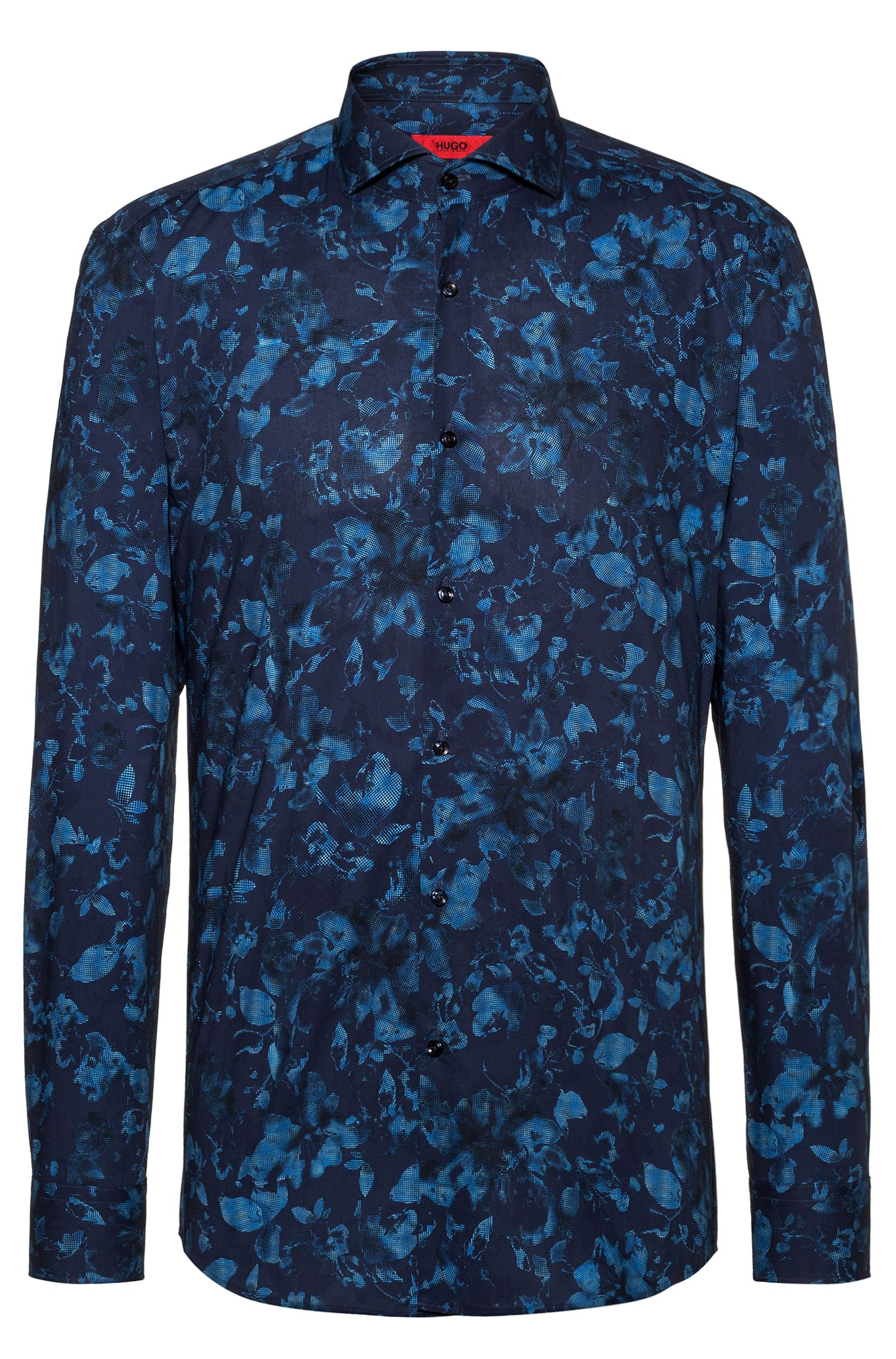 Slim-fit shirt with negative-effect floral print, Patterned