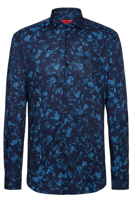 Slim-fit overhemd met bloemenprint in negatieflook, Bedrukt