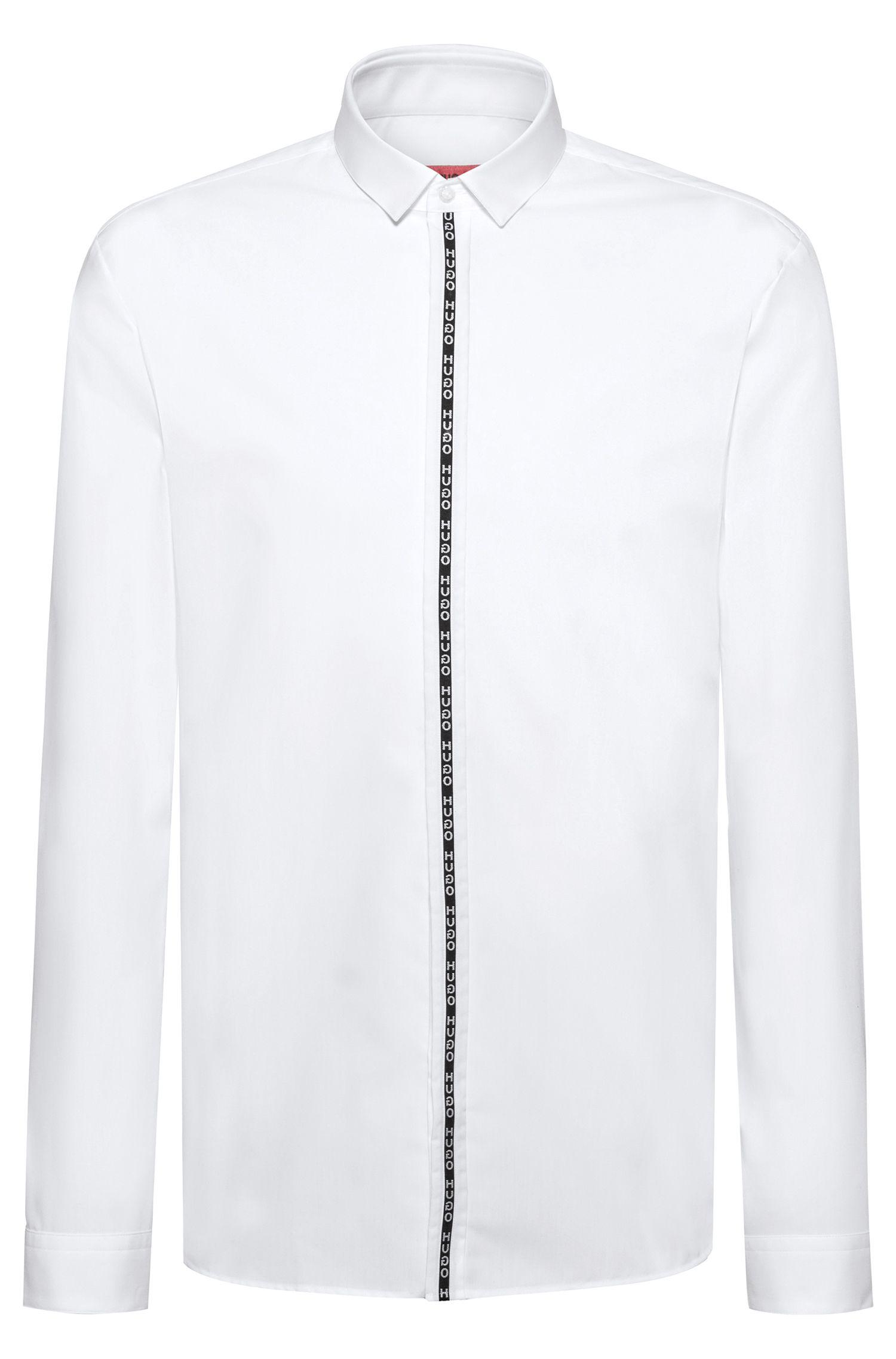 Extra slim-fit overhemd met gespiegelde logobies aan de sluiting, Wit