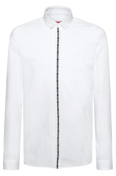 Extra-slim-fit shirt with reversed-logo placket tape, White