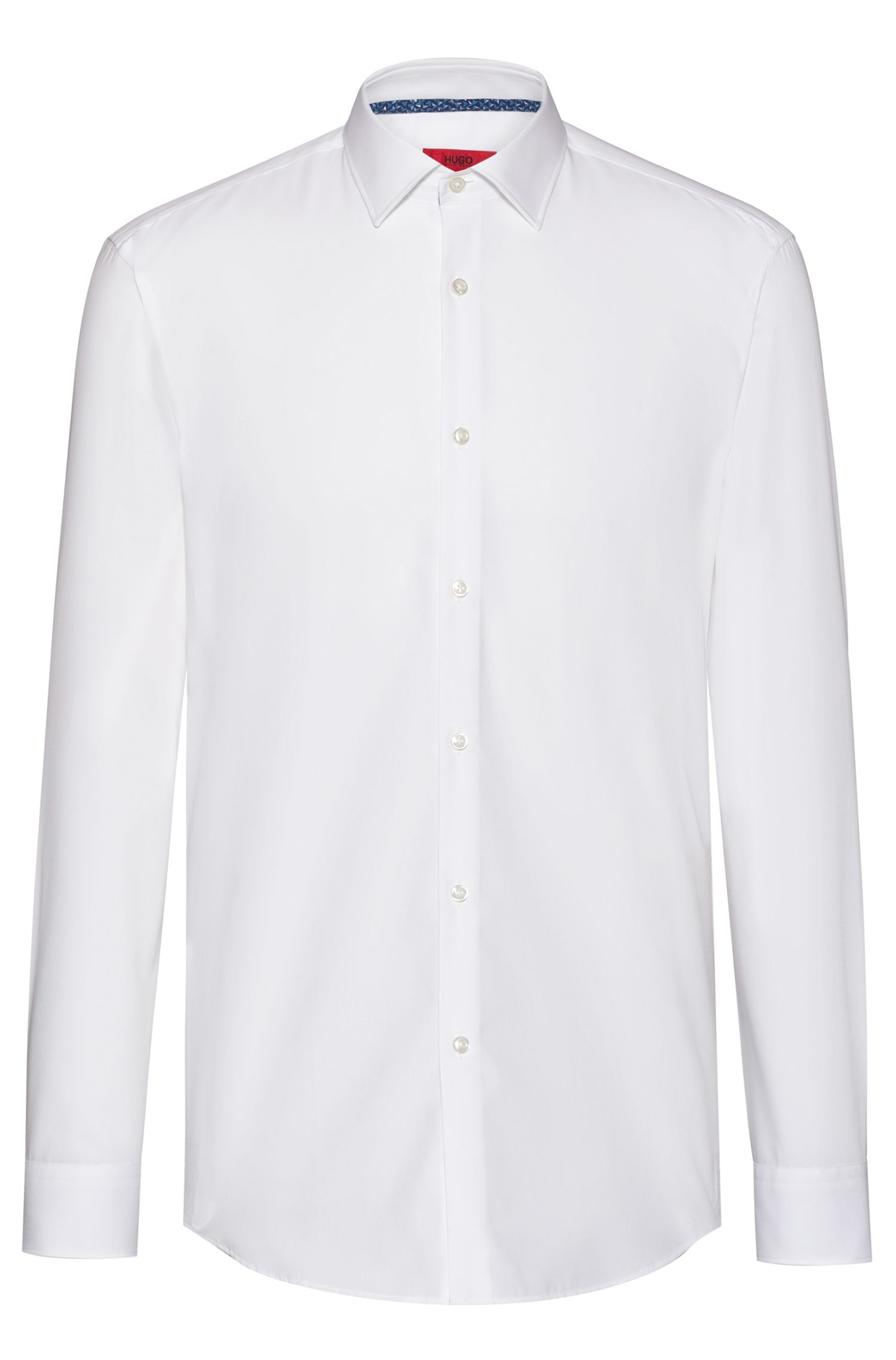 Chemise Slim Fit en coton avec finitions intérieures à motif, Blanc