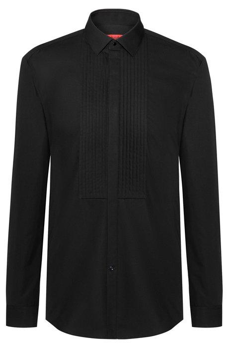 Slim-Fit Smoking-Hemd aus Baumwolle mit plissiertem Einsatz, Schwarz