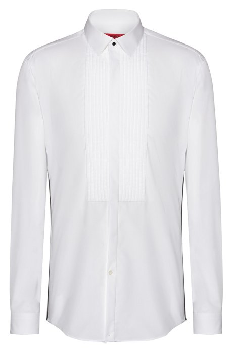 Slim-fit evening shirt in cotton with pleated panel, White
