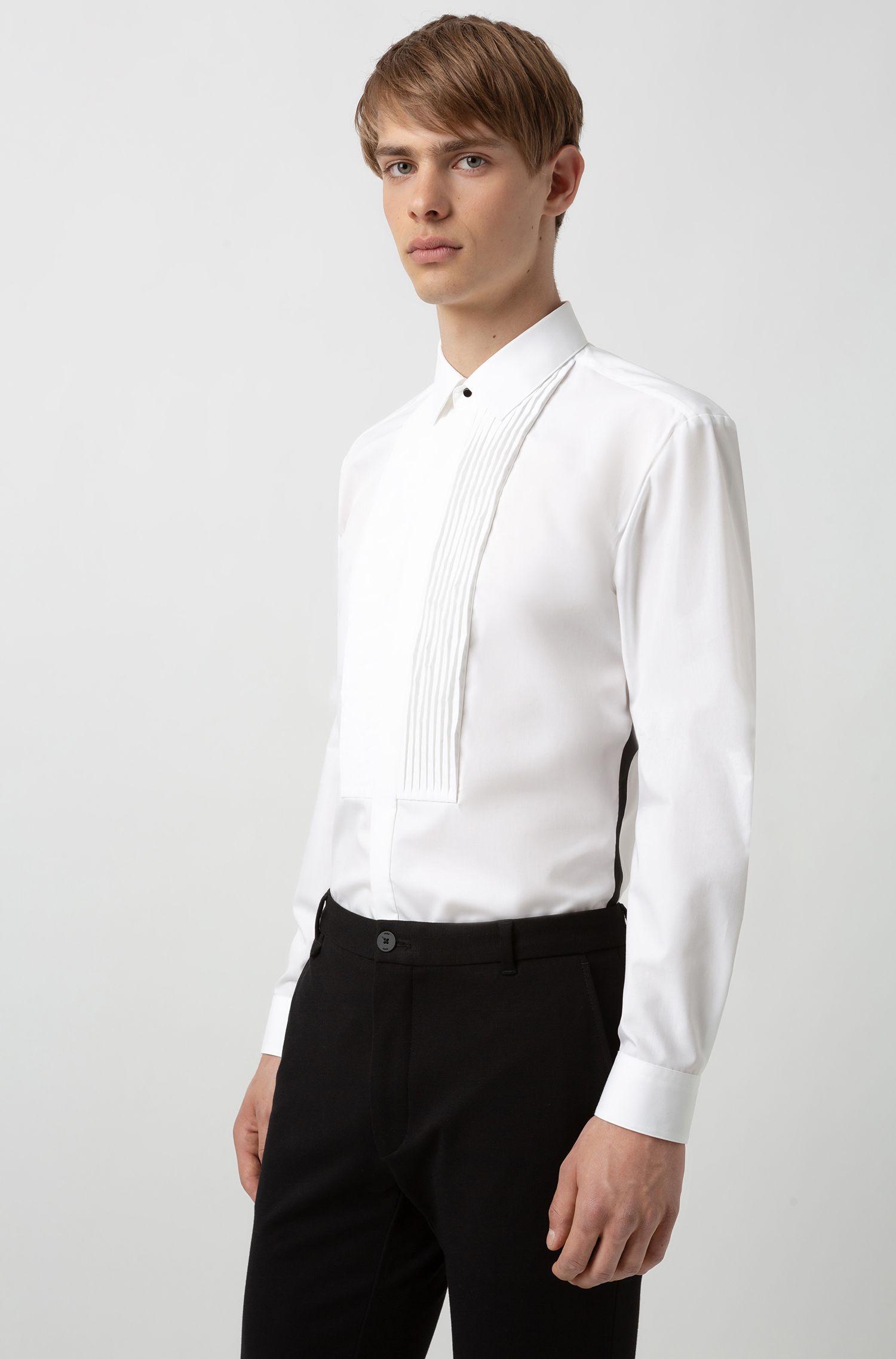 Chemise de soirée Slim Fit en coton à panneau plissé, Blanc