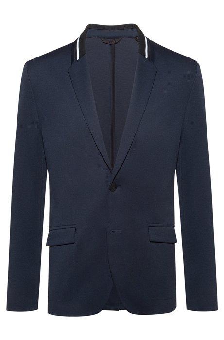 Veste ajustée Regular Fit avec col rayé en maille, Bleu foncé