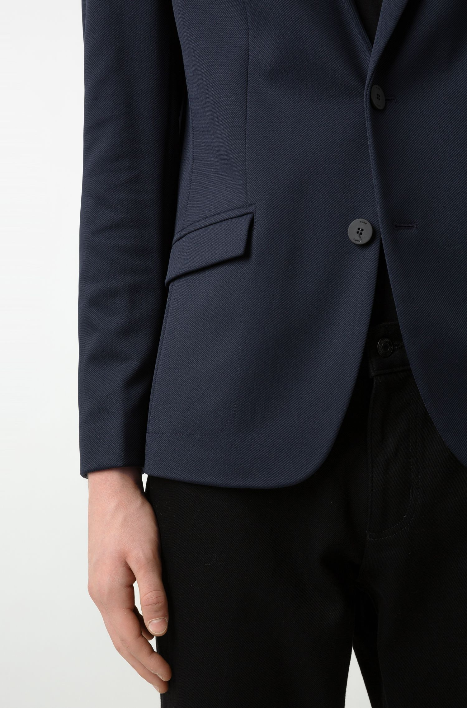 Regular-fit tailored jacket with knitted collar stripe, Dark Blue