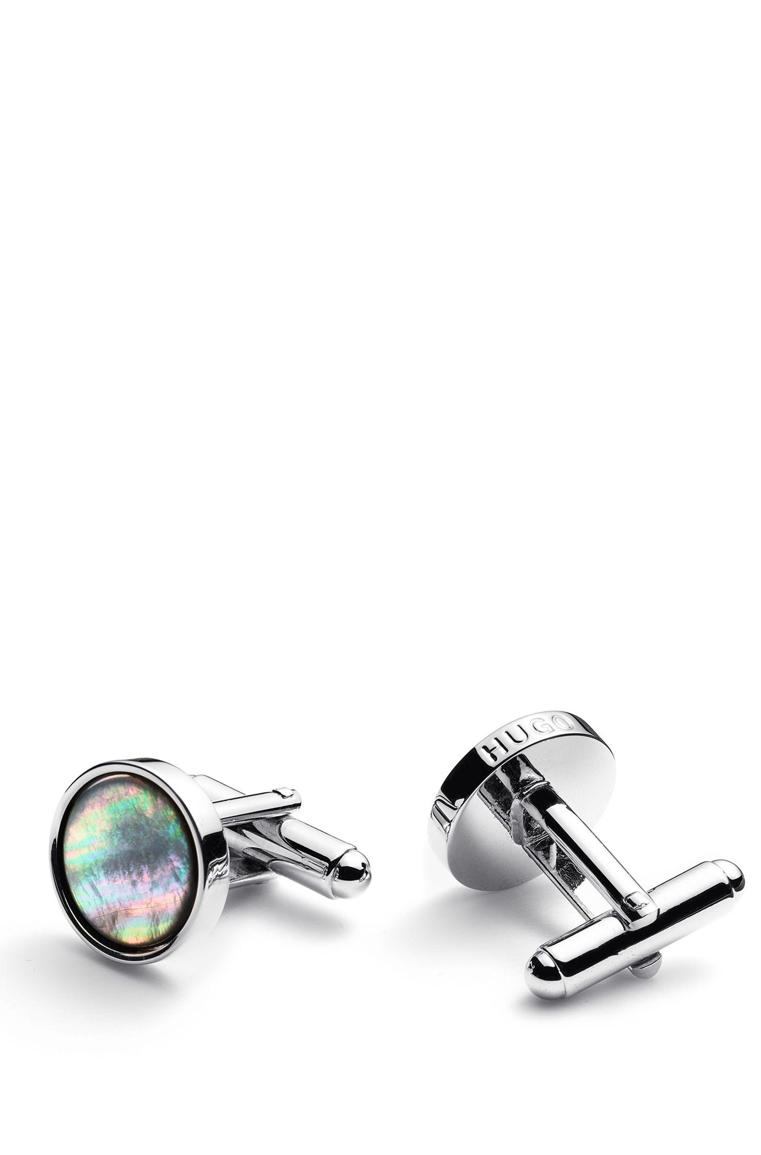 Runde Manschettenknöpfe aus poliertem Messing mit Perlmutt-Einsatz, Silber