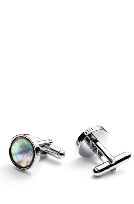 Round polished-metal cufflinks with mother-of-pearl inlays, Silver