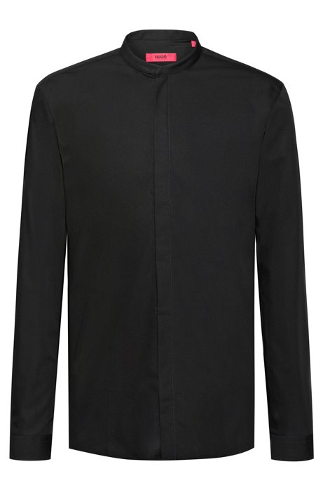 Chemise Extra Slim Fit en coton à la finition facile à repasser, Noir