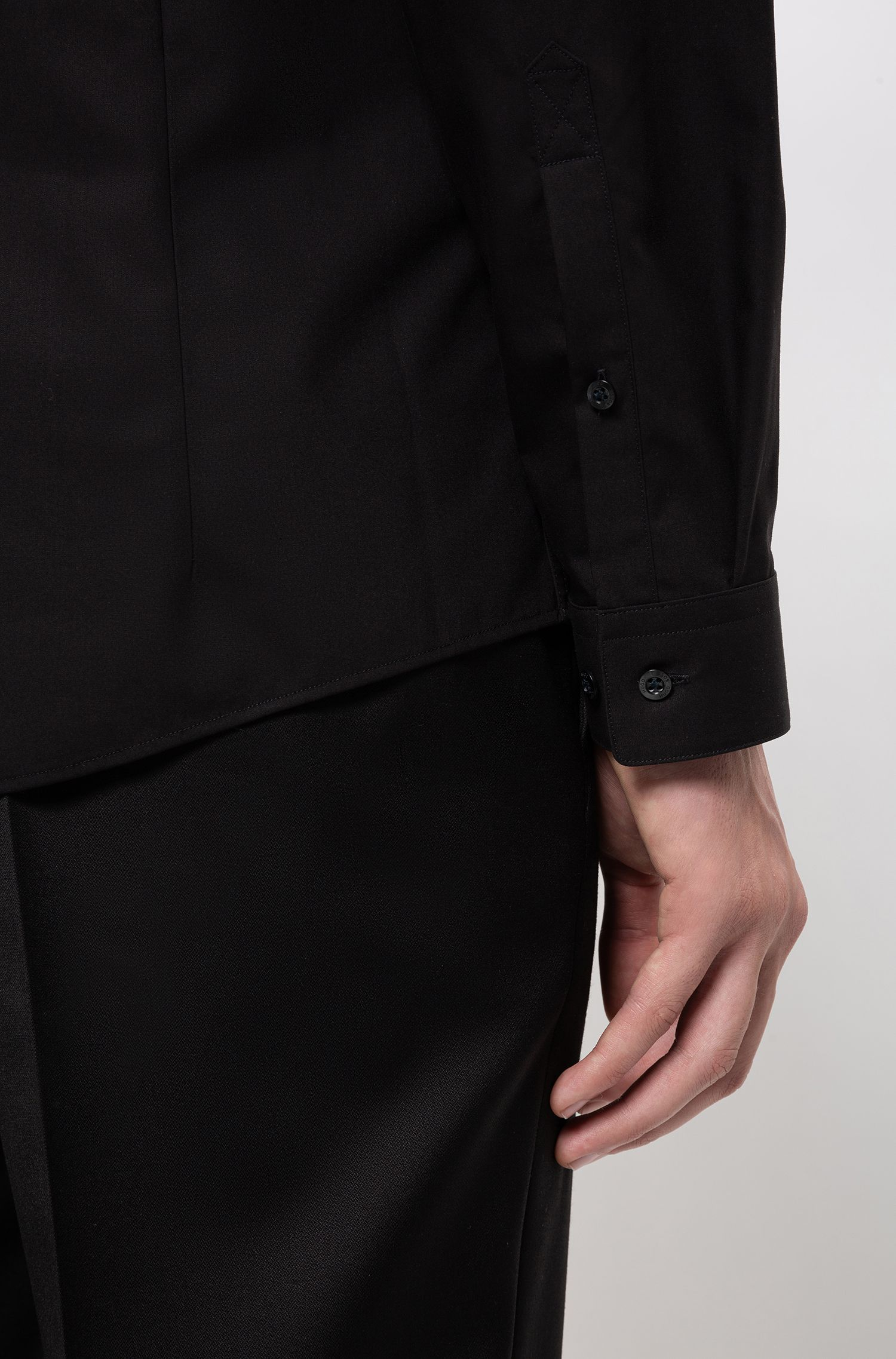 Extra-slim-fit cotton shirt with easy-iron finishing, Black