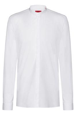 Extra Slim-Fit Hemd aus Baumwoll-Popeline mit bügelleichtem Finish, Weiß