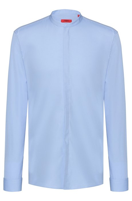 Extra-slim-fit cotton shirt with easy-iron finishing, Light Blue