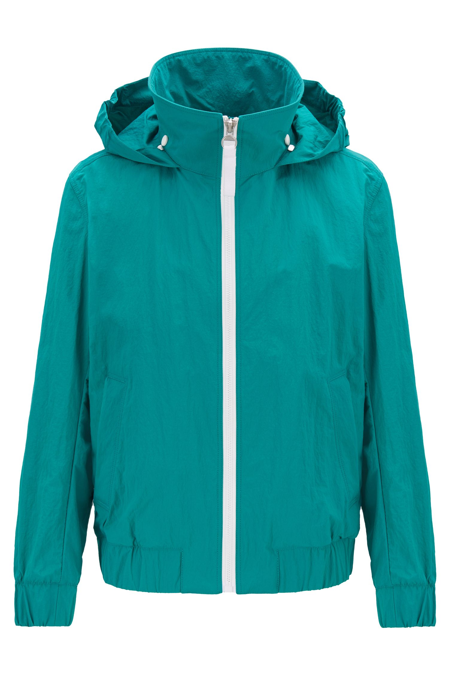 Mesh-lined jacket with packable logo hood, Green