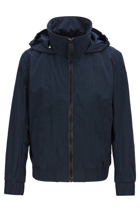 Mesh-lined jacket with packable logo hood, Dark Blue