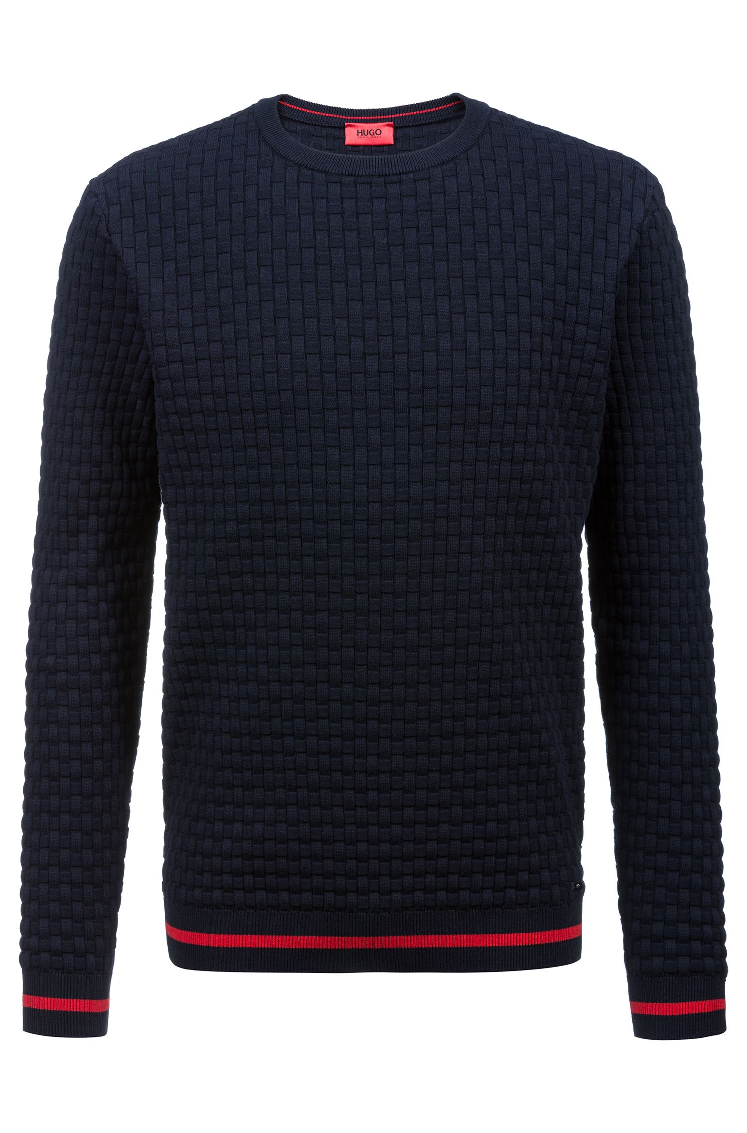 Crew-neck sweater in knitted cotton jacquard, Dark Blue