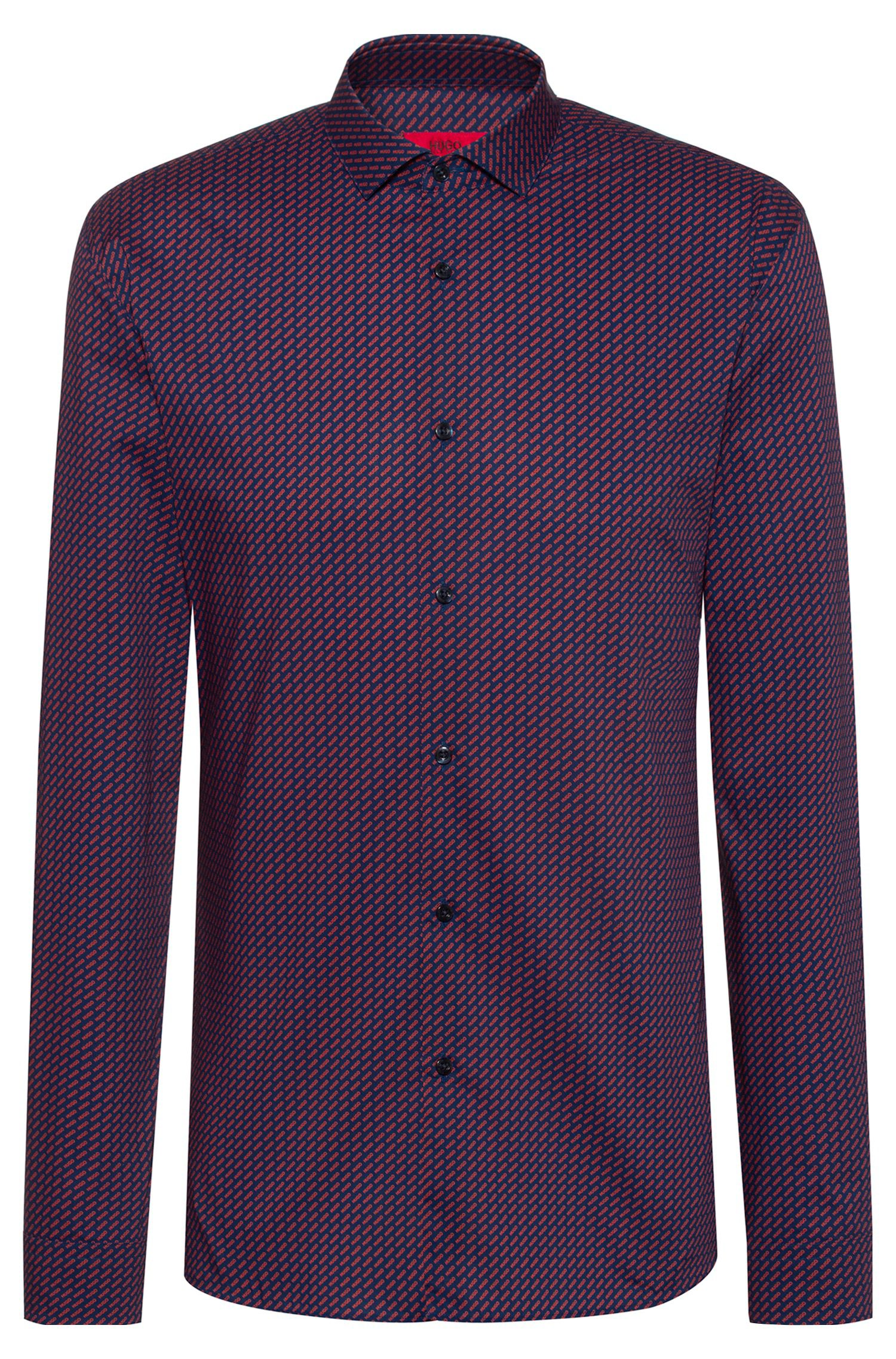 Extra-slim-fit shirt with all-over logo print, Patterned