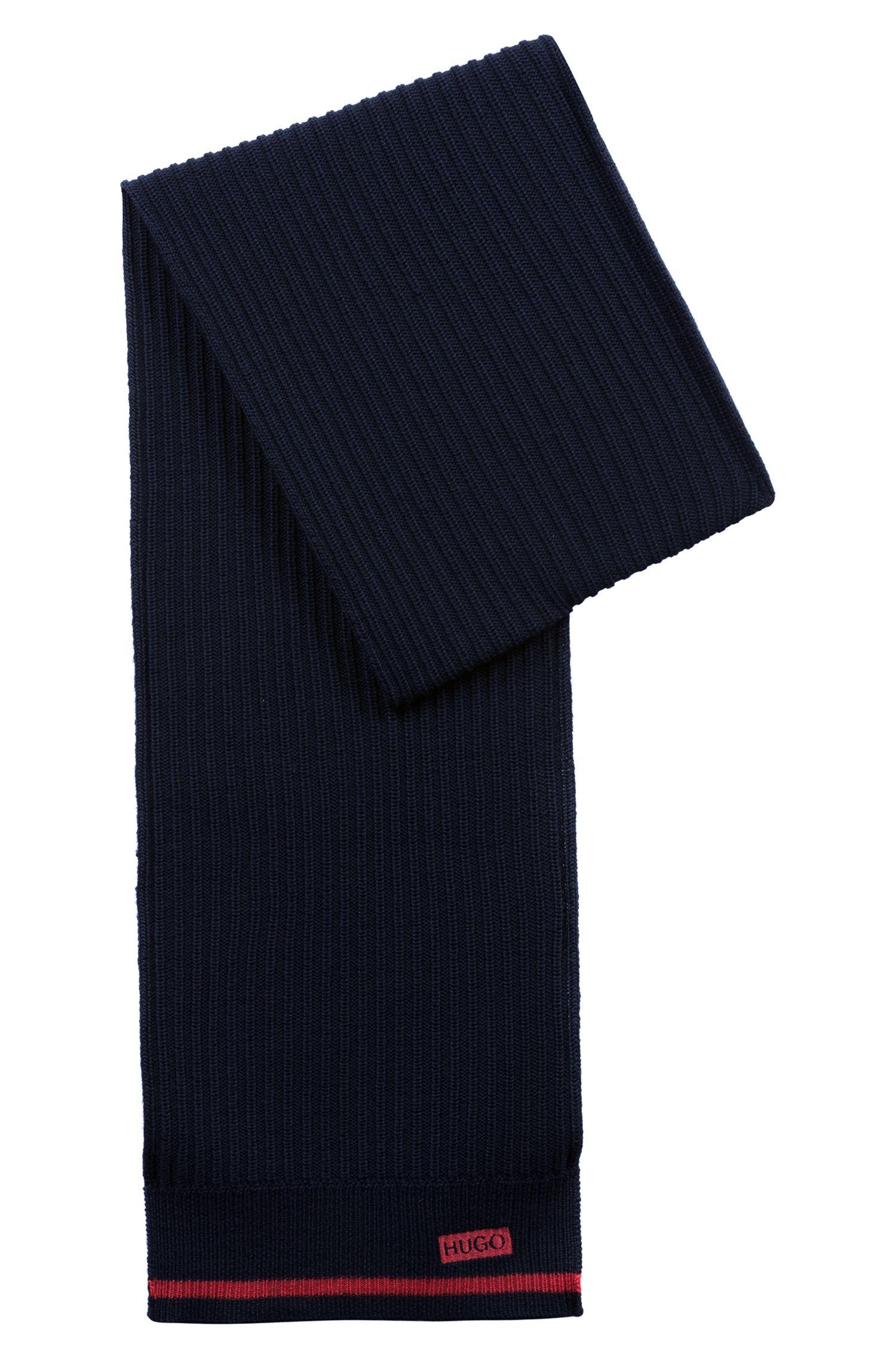 Ribbed scarf in merino wool with seasonal stripe, Dark Blue