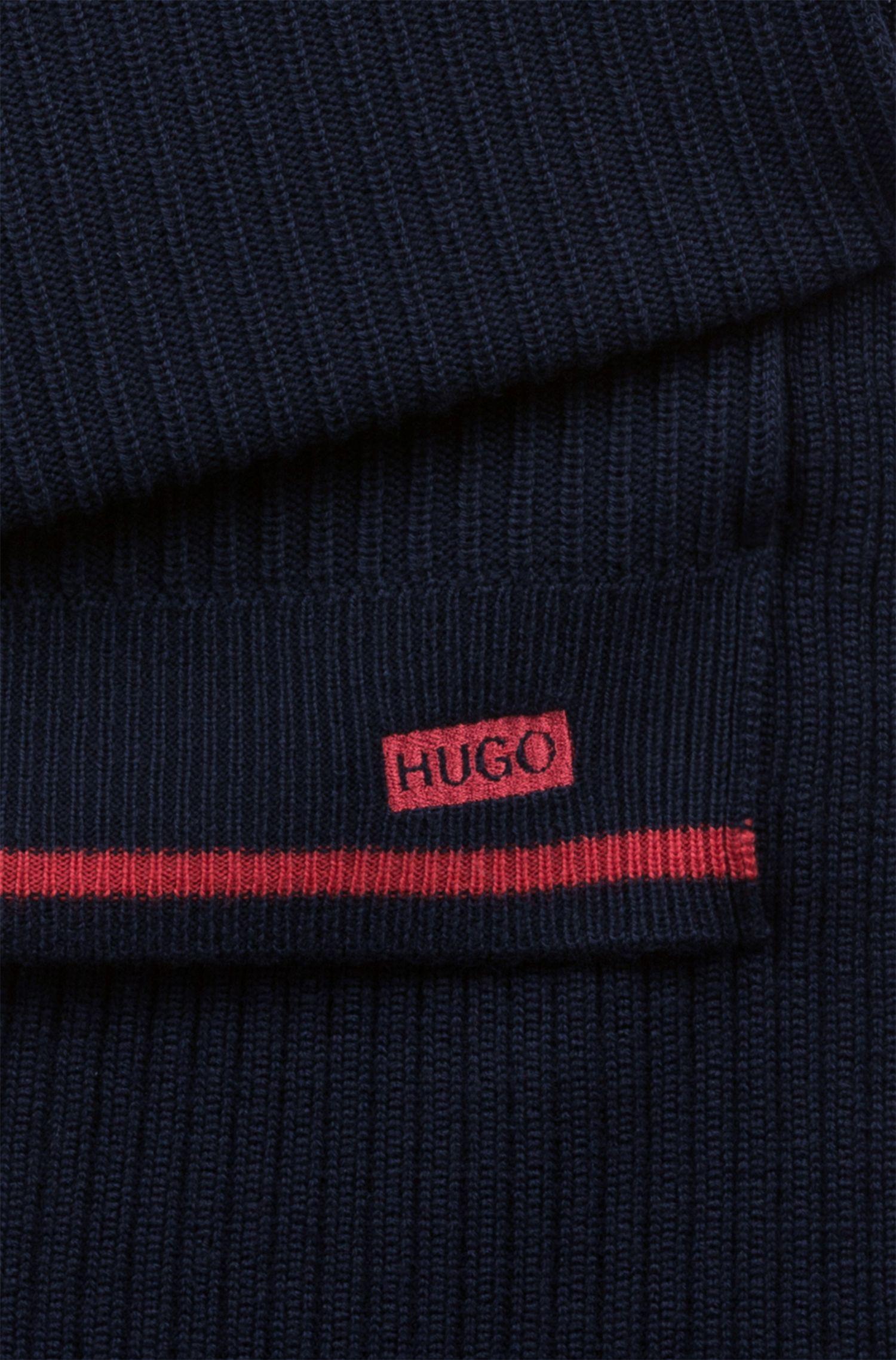 Hugo Boss - Bufanda de canalé en lana merina con rayas de temporada - 3