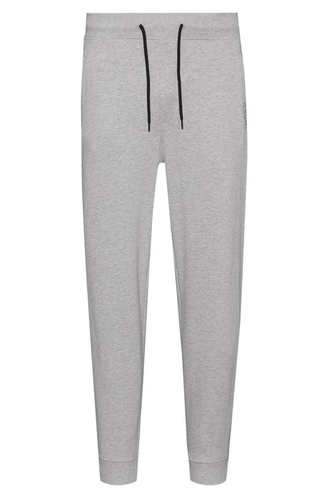 Cuffed trousers in French terry with reversed logo, Light Grey