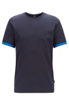 T-Shirt aus Baumwolle mit Liquid-Cotton-Finish und Rückseite aus Jersey, Dunkelblau