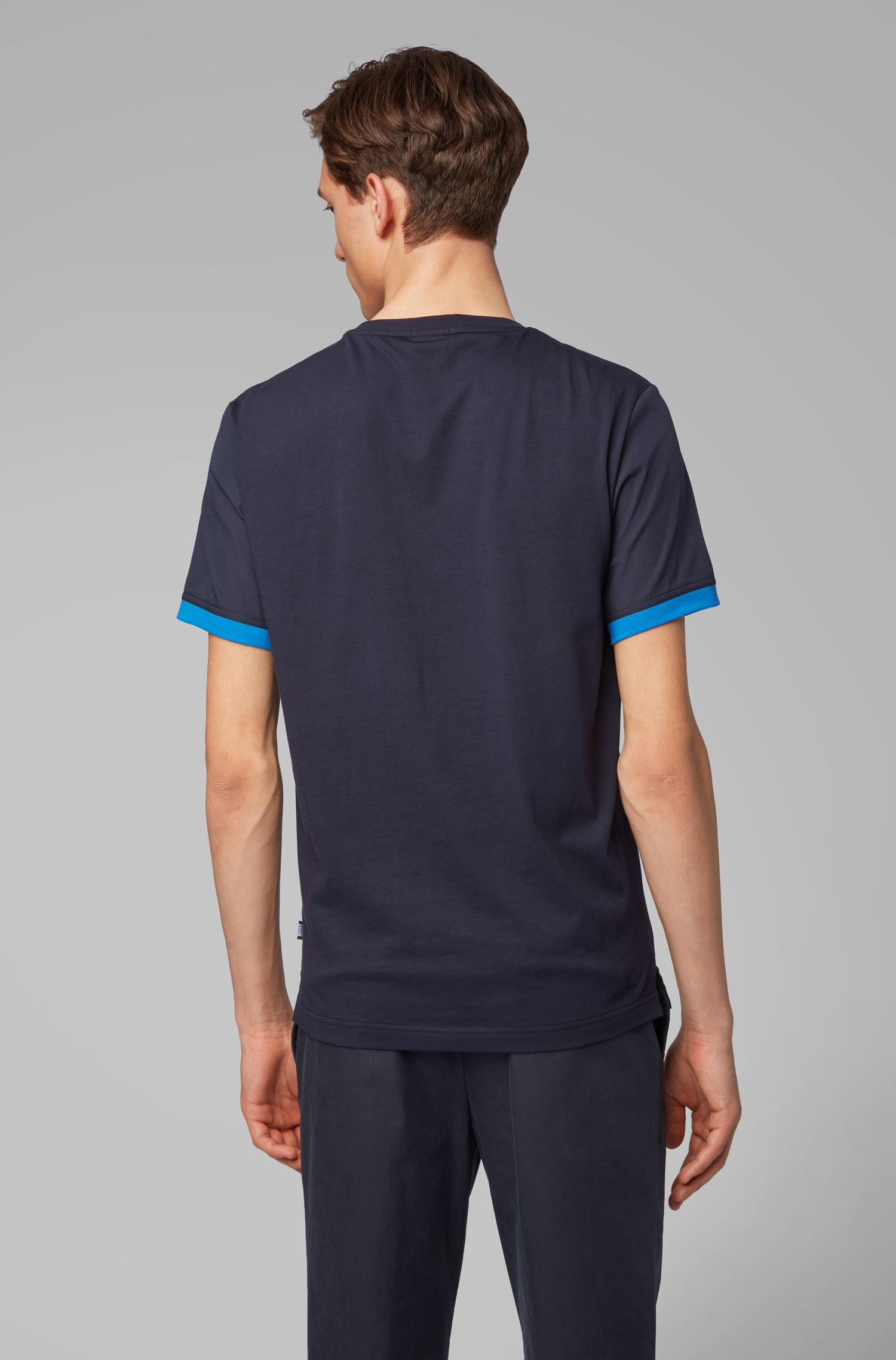 Woven T-shirt in liquid cotton with jersey back panel, Dark Blue