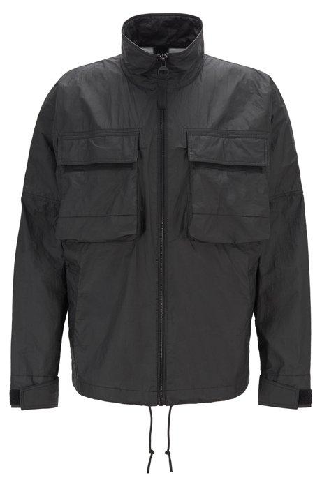 Winddicht jack van Tyvek® met een matte coating en een logo op de achterkant, Zwart